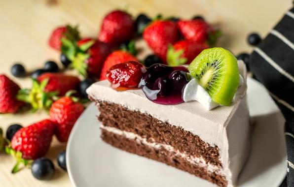 Picture kiwi, strawberry, Cake, Piece