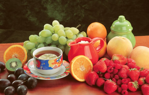 Picture berries, raspberry, table, tea, oranges, kiwi, strawberry, grapes, Cup, fruit, still life, peaches, plum