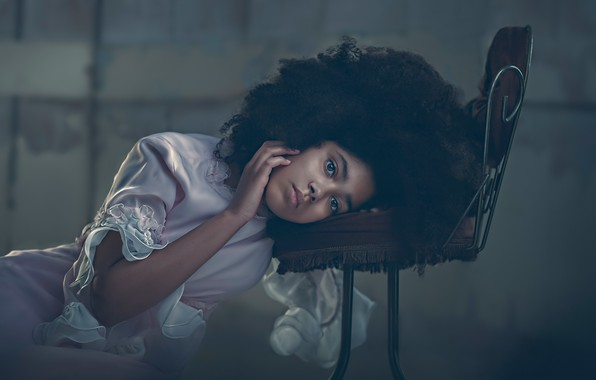 Picture look, mood, hand, portrait, dress, girl, curls, chair