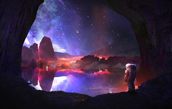 Picture the sky, rocks, planet, stars, astronauts, discovery