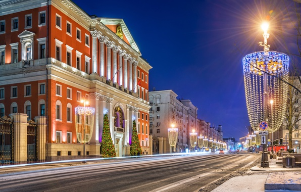 Picture winter, snow, night, lights, street, Moscow, Russia, Moscow
