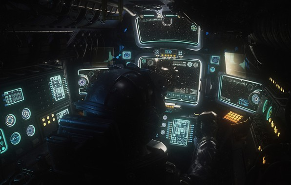Picture stars, devices, cabin, pilot, Military Space cockpit done