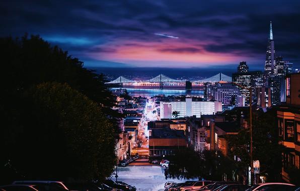 Picture car, city, lights, USA, sky, trees, bridge, night, California, clouds, San Francisco, street, houses, buildings, …