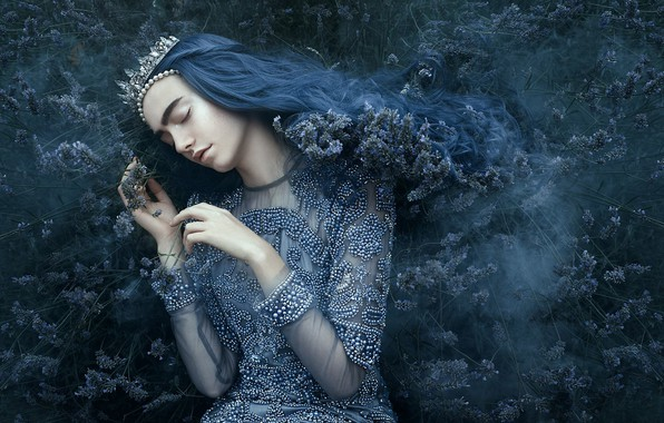 Picture girl, style, mood, sleep, crown, dress, Diadema, Princess, the bushes, blue hair, closed eyes, sleeping, …