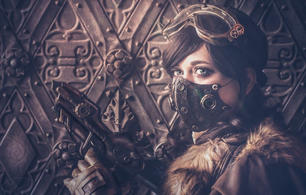 Picture girl, style, weapons, mask, glasses, steampunk