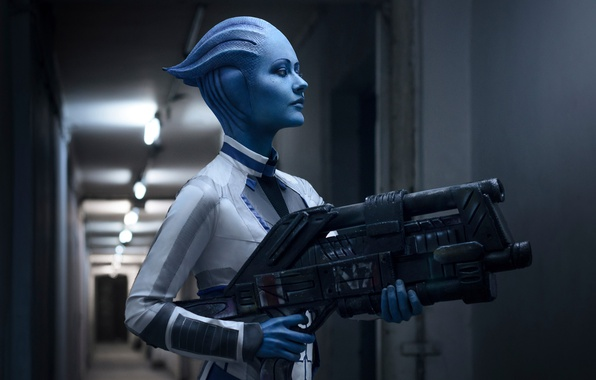 Photo wallpaper Girl, Mass Effect, Liara T Soni, Cosplay