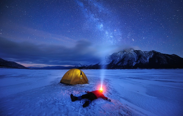 Picture winter, the sky, stars, light, snow, mountains, night, lake, people, ice, Canada, flashlight, tent, the …