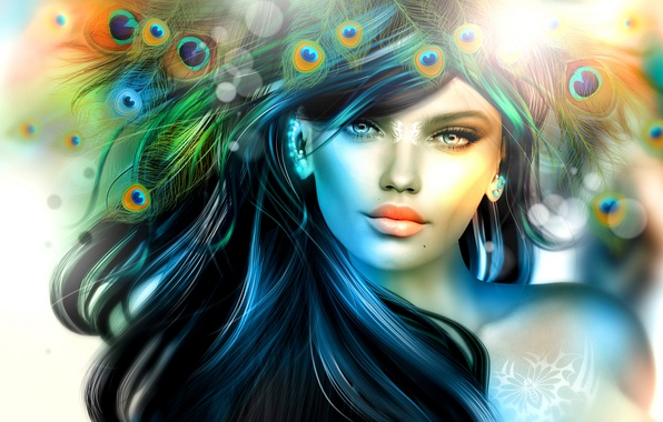 Photo wallpaper girl, hair, feathers