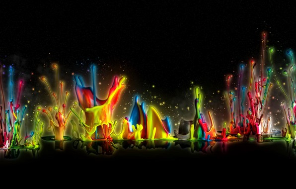 Picture drops, reflection, rendering, paint, bursts, black background, the colors of the rainbow