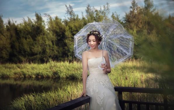 Picture Girl, Dress, Umbrella, The bride