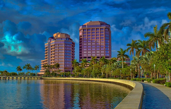 Picture the sky, the sun, clouds, trees, palm trees, building, home, FL, Bay, USA, promenade, West …