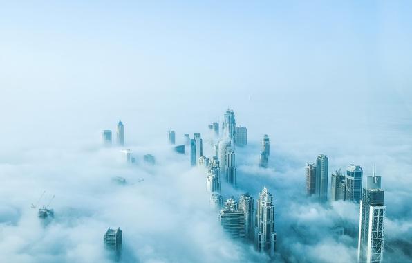 Picture fog, dubai, mist, burjkhalikfa