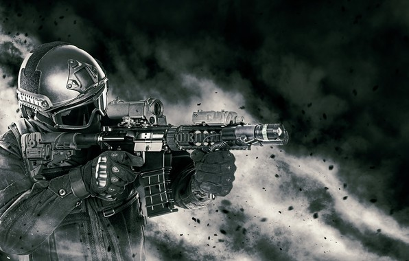 Picture soldier, elite, armament, pearls, assault rifle, equipment, powder
