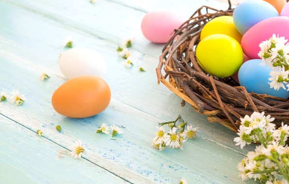 Picture flowers, basket, eggs, spring, colorful, Easter, wood, pink, flowers, spring, Easter, eggs, decoration, Happy, tender