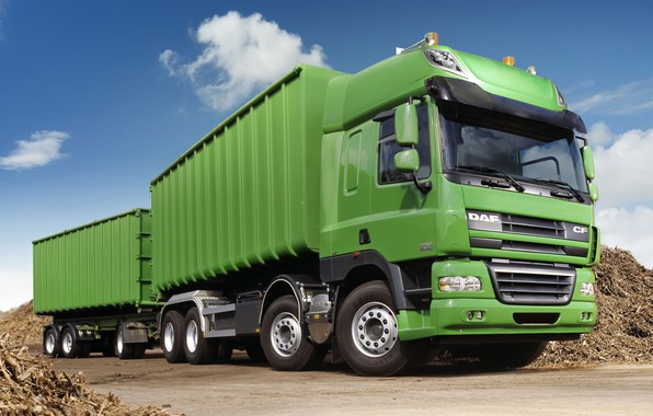 Picture truck, green, the trailer, tractor, DAF, DAF, train, agriculture, Euro5, 8x4, DAF CF85.460