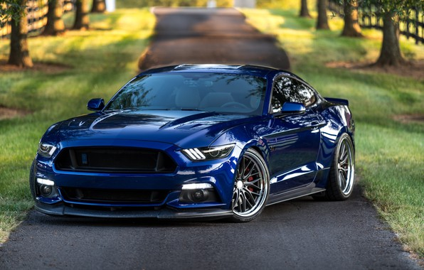 Picture Mustang, Ford, Blue, 5.0, LED lights