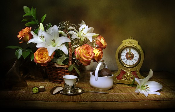 Picture flowers, basket, Lily, watch, roses, candy, fabric, still life, dessert, Cup, still life, vase, marshmallows