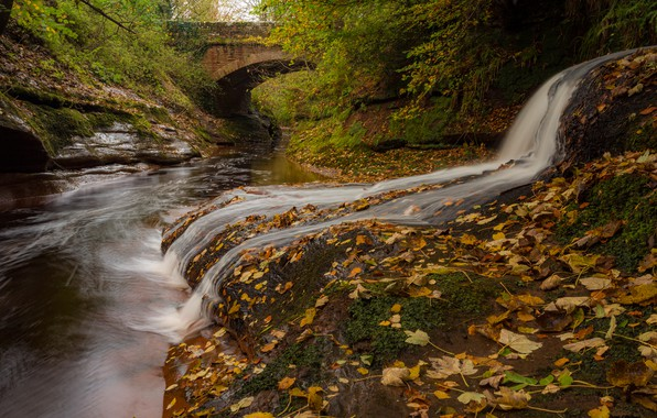 Picture autumn, leaves, bridge, river, England, waterfall, England, Cumbria, Cumbria, Gelt Bridge, River Gelt, The River …