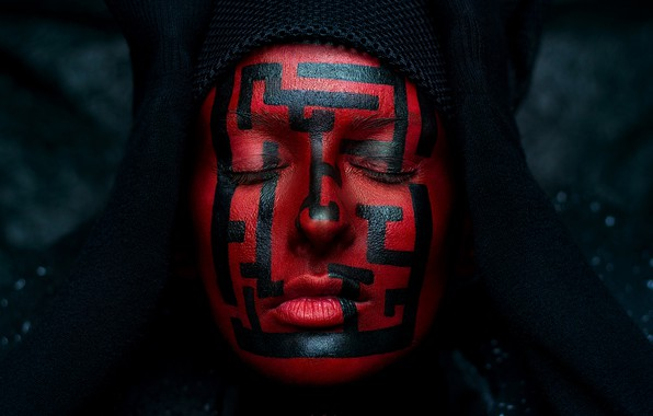 Picture girl, face, red, maze, paint, Ivan Kovalev