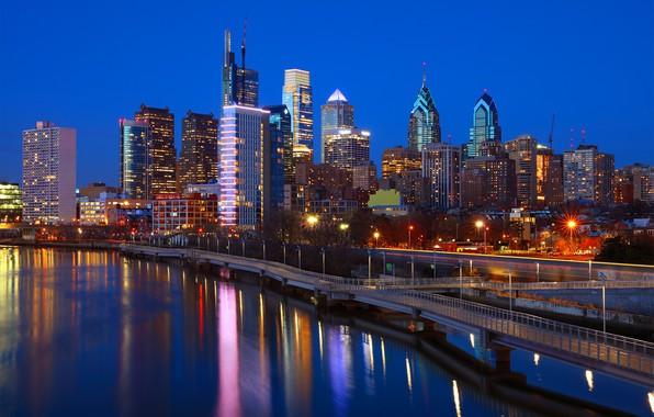 Picture night, lights, river, USA, Philadelphia, Philadelphia