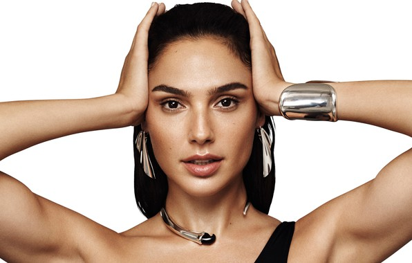 Picture look, decoration, pose, makeup, actress, brunette, hairstyle, white background, beauty, Gal Gadot, Gal Gadot