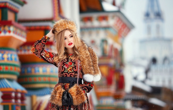 Picture snowflakes, hat, makeup, dress, hairstyle, blonde, outfit, belt, fur, beauty, bokeh, Anastasia Grosheva