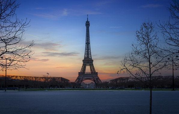 Picture trees, sunset, France, Paris, Eiffel Tower, Paris, France, Eiffel Tower