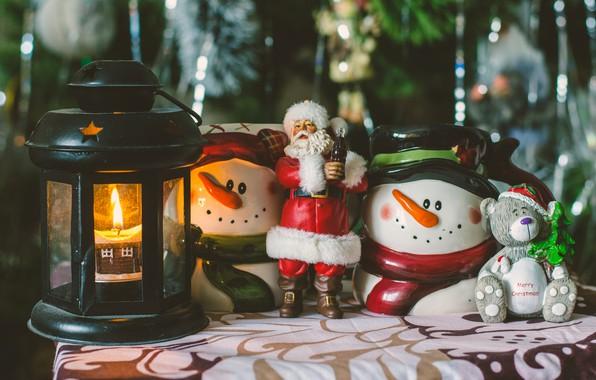 Picture rain, holiday, toys, new year, Christmas, candle, bear, lantern, snowmen, tree, Santa Claus