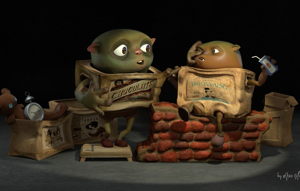Picture box, toy, watch, alarm clock, art, bear, Boxtrolls interpretation, Hellene Sau