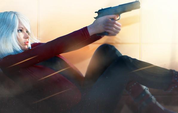 Picture girl, pose, rendering, gun, blonde, profile
