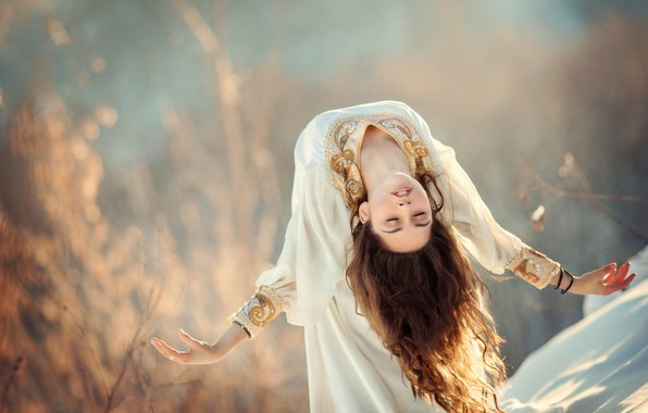 Picture girl, pose, mood, hair, hands, dress, bokeh, Anna Melnikova, The Swan Princess