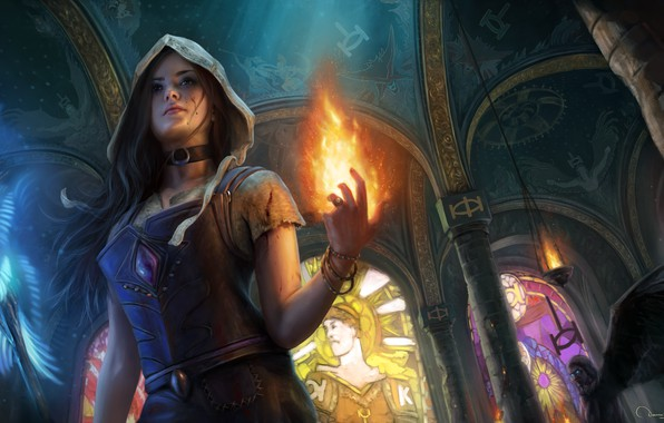 Picture fire, temple, art, path of exile, the girl MAG
