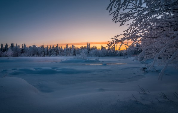Picture winter, forest, snow, trees, sunset, river, Finland, Finland, Lapland, Lapland, River Äkäsjoki