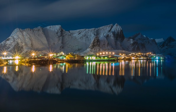 Picture winter, the sky, water, snow, mountains, night, lights, reflection, rocks, home, Norway, lights, Bay, Lofoten