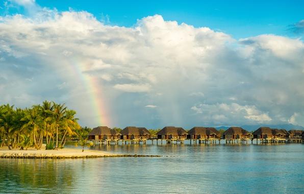 Picture sand, sea, beach, the sky, the sun, clouds, tropics, palm trees, coast, rainbow, Bora Bora, …