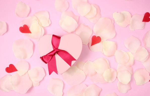 Picture gift, Petals, Holiday, bow, heart, Valentine's day