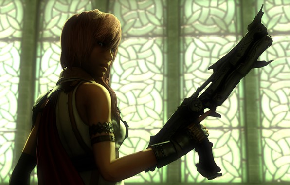 Picture look, girl, rendering, weapons, Final Fantasy XIII, Lightning, square enix
