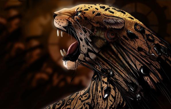 Jaguar Predator Black Animal Muzzle Art Wallpaper: Wallpaper Cat, Predator, Art, Jaguar, Resin, Animal