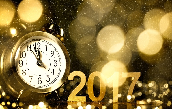 Picture watch, New Year, alarm clock, gold, new year, happy, bokeh, champagne, 2017