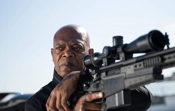 Picture weapons, frame, optics, sniper, rifle, action, Samuel L. Jackson, Samuel L. Jackson, The Hitman's Bodyguard, …