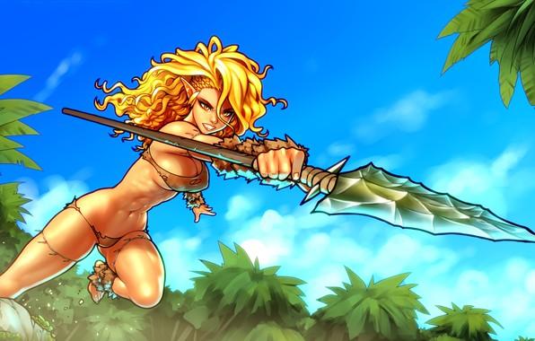Picture chest, girl, hair, body, blonde, spear, elf, throw