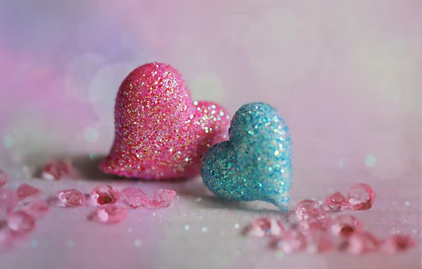 Picture rhinestones, hearts, two hearts