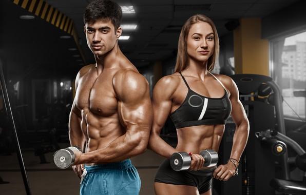 Picture woman, men, fitness, bodybuilders
