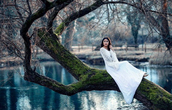 Picture autumn, girl, pond, tree, mood, dress, Alessandro Di Cicco