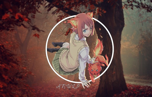 Picture forest, cat, girl, anime, madskillz, agnoli
