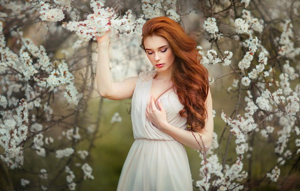 Picture girl, branches, tree, mood, hair, spring, hands, garden, dress, red, flowering, redhead, flowers, curls, Olga ...