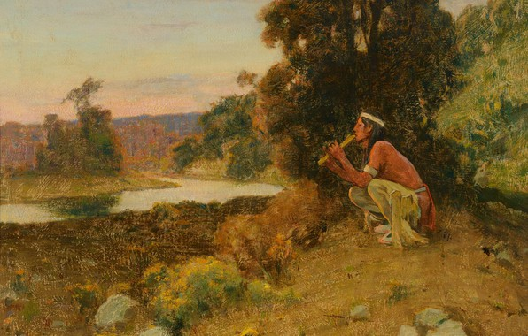 Picture the flute, Eanger Irving Couse, The Piper, Indian in nature