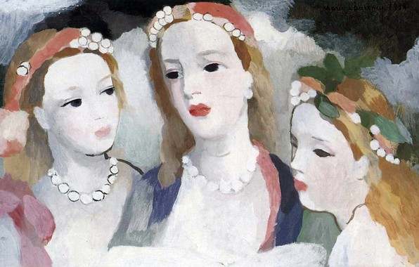 Picture beads, cuties, 1938, Modern, Marie Laurencin, Three young girls