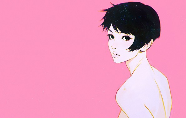 Picture haircut, pink background, bangs, portrait of a girl, half a turn, Ilya Kuvshinov, neck shoulders