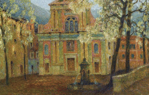 Picture home, picture, fountain, the urban landscape, Henry Le Sedane Products, Henri Le Sidane, The Church …